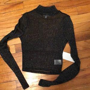 Black sparkly mesh long sleeve crop top